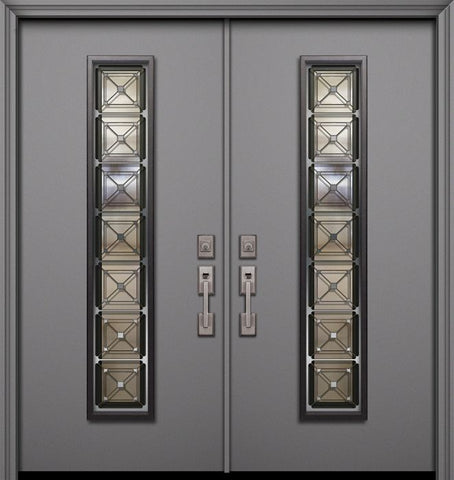 WDMA 64x80 Door (5ft4in by 6ft8in) Exterior Smooth 80in Double Malibu Solid Contemporary Door with Speakeasy 1
