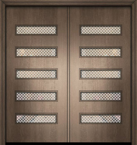 WDMA 64x80 Door (5ft4in by 6ft8in) Exterior Mahogany 80in Double Beverly Contemporary Door w/Metal Grid 1