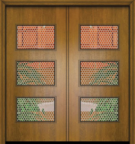 WDMA 64x80 Door (5ft4in by 6ft8in) Exterior Mahogany 80in Double Santa Monica Contemporary Door w/Metal Grid 1