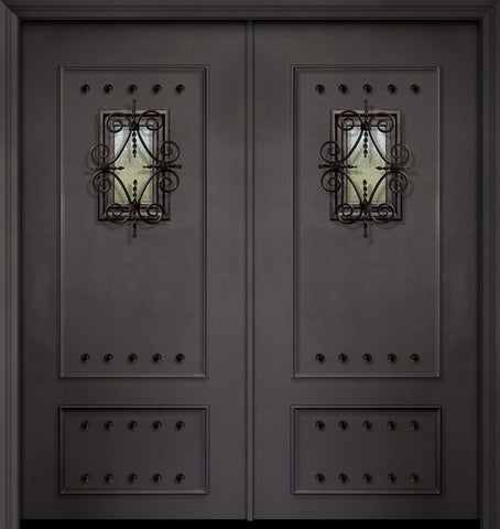 WDMA 64x80 Door (5ft4in by 6ft8in) Exterior 80in ThermaPlus Steel 2 Panel Double Door with Speakeasy / Clavos 1