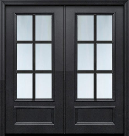 WDMA 64x80 Door (5ft4in by 6ft8in) Patio 80in ThermaPlus Steel 6 Lite SDL 3/4 Lite Double Door 1