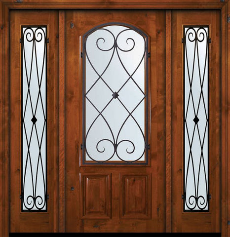 WDMA 64x80 Door (5ft4in by 6ft8in) Exterior Knotty Alder 36in x 80in Arch Lite Charleston Alder Door /2side 1