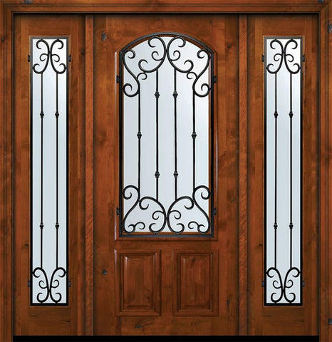 WDMA 64x80 Door (5ft4in by 6ft8in) Exterior Knotty Alder 36in x 80in Arch Lite Valencia Alder Door /2side 1