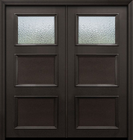 WDMA 64x80 Door (5ft4in by 6ft8in) Exterior 80in ThermaPlus Steel 1 Lite 2 Panel Continental Double Door w/ Textured Glass 1