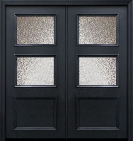 WDMA 64x80 Door (5ft4in by 6ft8in) Exterior 80in ThermaPlus Steel 2 Lite 1 Panel Continental Double Door w/ Textured Glass 1