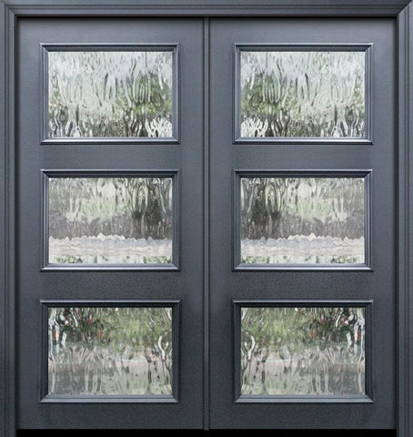 WDMA 64x80 Door (5ft4in by 6ft8in) Exterior 80in ThermaPlus Steel 3 Lite Continental Double Door w/ Textured Glass 1