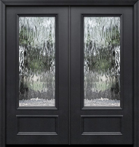 WDMA 64x80 Door (5ft4in by 6ft8in) Exterior 80in ThermaPlus Steel 3/4 Lite Privacy Glass Double Door 1