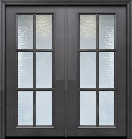 WDMA 64x80 Door (5ft4in by 6ft8in) French 80in ThermaPlus Steel 6 Lite SDL Full Lite Double Door 1