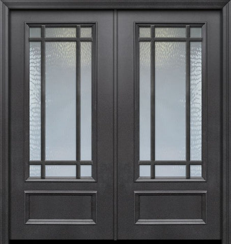 WDMA 64x80 Door (5ft4in by 6ft8in) Exterior 80in ThermaPlus Steel 9 Lite SDL 3/4 Lite Double Door 1