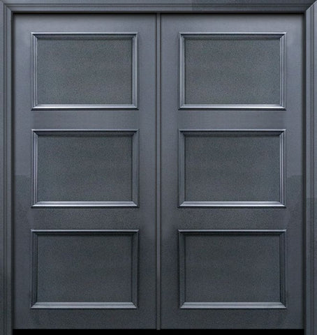 WDMA 64x80 Door (5ft4in by 6ft8in) Exterior 80in ThermaPlus Steel 3 Panel Solid Continental Double Door 1