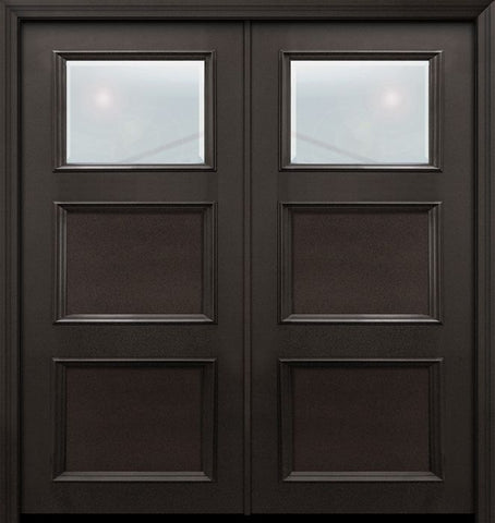 WDMA 64x80 Door (5ft4in by 6ft8in) Exterior 80in ThermaPlus Steel 1 Lite 2 Panel Continental Double Door w/ Beveled Glass 1