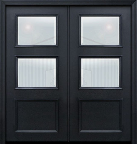 WDMA 64x80 Door (5ft4in by 6ft8in) Exterior 80in ThermaPlus Steel 2 Lite 1 Panel Continental Double Door w/ Beveled Glass 1