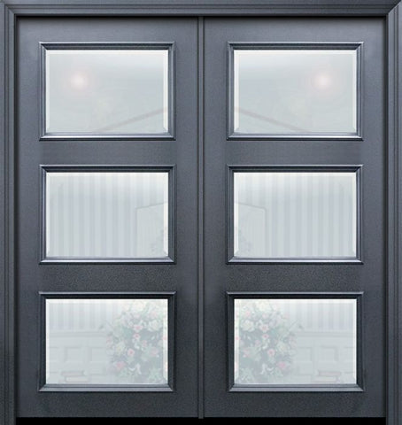 WDMA 64x80 Door (5ft4in by 6ft8in) Exterior 80in ThermaPlus Steel 3 Lite Continental Double Door w/ Beveled Glass 1