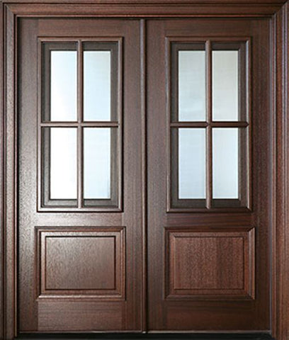 WDMA 64x80 Door (5ft4in by 6ft8in) Exterior Swing Mahogany Breezeport TDL 4LT Double Door 2-1/4 Thick 1