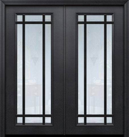 WDMA 64x80 Door (5ft4in by 6ft8in) French 80in ThermaPlus Steel 9 Lite SDL Full Lite Double Door 1