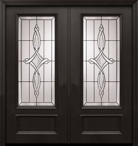 WDMA 64x80 Door (5ft4in by 6ft8in) Exterior 80in ThermaPlus Steel Marsais 1 Panel 3/4 Lite Double Door 1