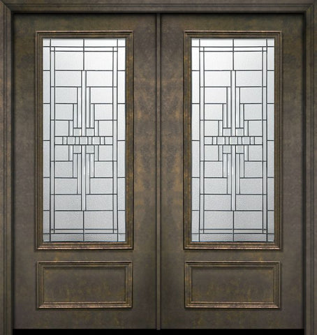 WDMA 64x80 Door (5ft4in by 6ft8in) Exterior 80in ThermaPlus Steel Remington 1 Panel 3/4 Lite Double Door 1