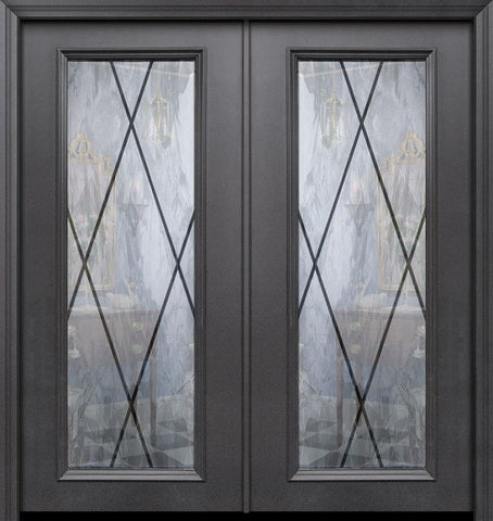 WDMA 64x80 Door (5ft4in by 6ft8in) Exterior 80in ThermaPlus Steel Sandringham Full Lite Double Door 1