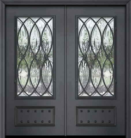 WDMA 64x80 Door (5ft4in by 6ft8in) Exterior 80in ThermaPlus Steel La Salle 1 Panel 3/4 Lite Double Door 1