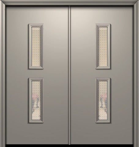 WDMA 64x80 Door (5ft4in by 6ft8in) Exterior 80in ThermaPlus Steel Huntington Contemporary Double Door w/Metal Grid / Clear Glass 1