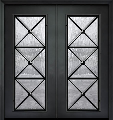WDMA 64x80 Door (5ft4in by 6ft8in) Exterior 80in ThermaPlus Steel Republic 1 Panel Full Lite Double Door 1