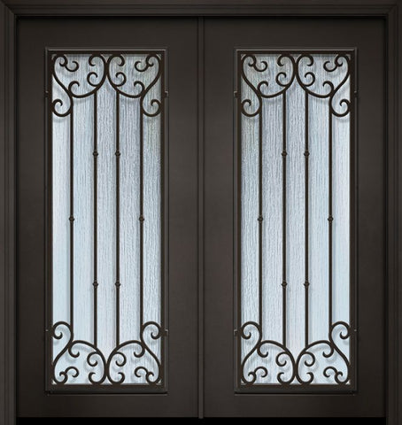 WDMA 64x80 Door (5ft4in by 6ft8in) Exterior 80in ThermaPlus Steel Valencia 1 Panel Full Lite Double Door 1