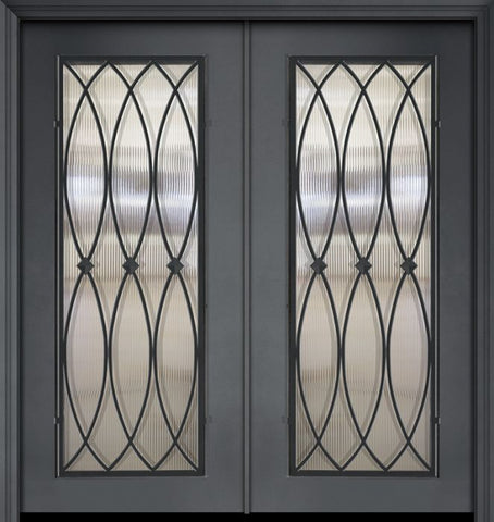 WDMA 64x80 Door (5ft4in by 6ft8in) Exterior 80in ThermaPlus Steel La Salle 1 Panel Full Lite Double Door 1