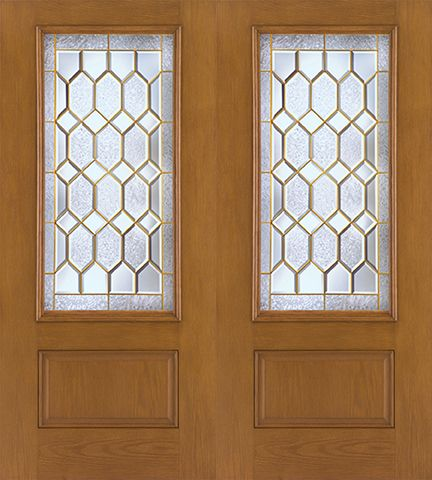 WDMA 64x80 Door (5ft4in by 6ft8in) Exterior Oak Fiberglass Impact Door 3/4 Lite Crystalline 6ft8in Double 1