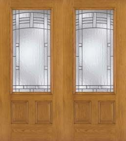 WDMA 64x80 Door (5ft4in by 6ft8in) Exterior Oak Fiberglass Impact Door 3/4 Lite Maple Park 6ft8in Double 1