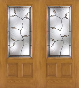 WDMA 64x80 Door (5ft4in by 6ft8in) Exterior Oak Fiberglass Impact Door 3/4 Lite Avonlea 6ft8in Double 1