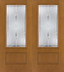 WDMA 64x80 Door (5ft4in by 6ft8in) Exterior Oak Fiberglass Impact Door 3/4 Lite Blackstone 6ft8in Double 1