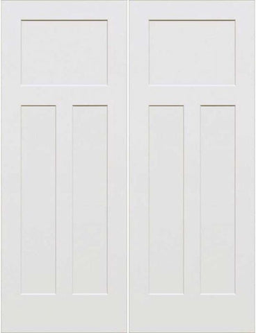 WDMA 64x96 Door (5ft4in by 8ft) Interior Swing Smooth 96in 3-Panel Craftsman Primed Double Door 1