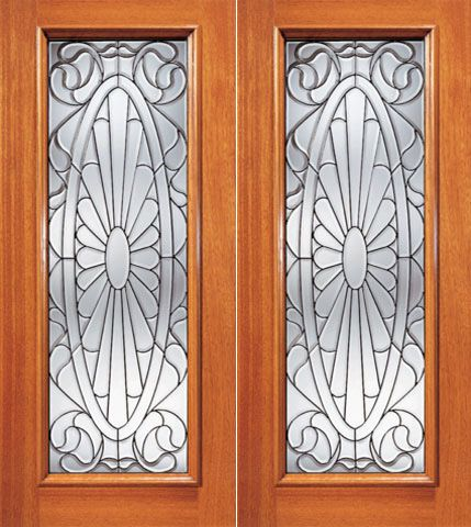 WDMA 64x96 Door (5ft4in by 8ft) Exterior Mahogany Contemporary Oval Design Beveled Glass Double Door Full lite 1