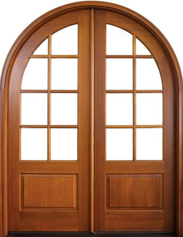 WDMA 64x96 Door (5ft4in by 8ft) Patio Swing Mahogany Pinehurst TDL 8 Lite Double Door/Round Top 1