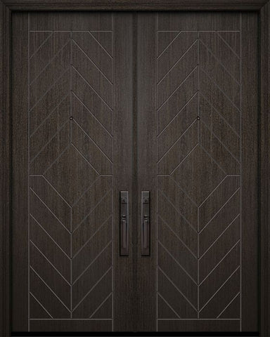 WDMA 64x96 Door (5ft4in by 8ft) Exterior Mahogany 96in Double Lynnwood Contemporary Door 1