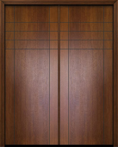 WDMA 64x96 Door (5ft4in by 8ft) Exterior Mahogany 96in Double Fleetwood Contemporary Door 1