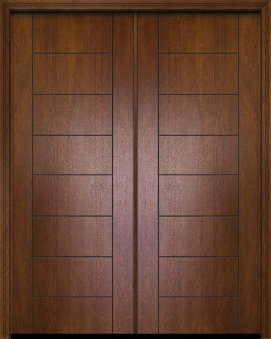 WDMA 64x96 Door (5ft4in by 8ft) Exterior Mahogany 96in Double Brentwood Contemporary Door 1