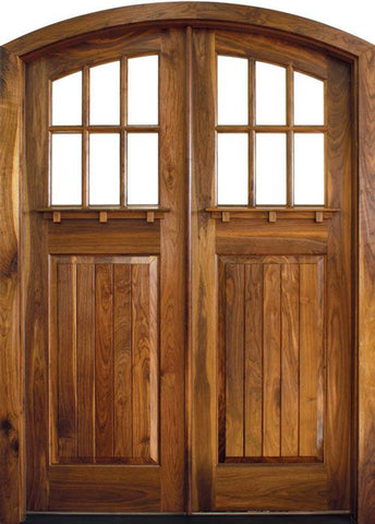 WDMA 64x96 Door (5ft4in by 8ft) Exterior Swing Mahogany Craftsman Linville 6 Lite Double Door/Arch Top 1