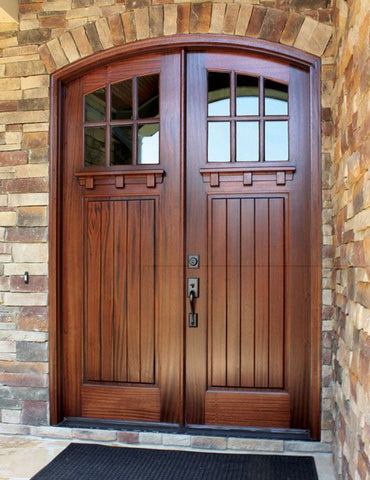 WDMA 64x96 Door (5ft4in by 8ft) Exterior Swing Mahogany Craftsman Linville 6 Lite Double Door/Arch Top 2