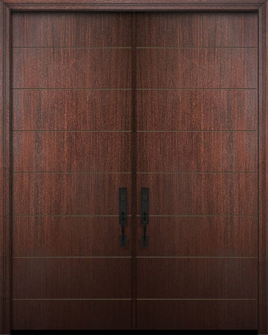 WDMA 64x96 Door (5ft4in by 8ft) Exterior Mahogany 96in Double Westwood Solid Contemporary Door 1