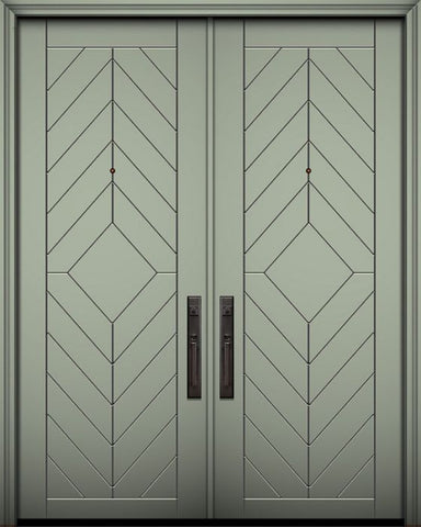 WDMA 64x96 Door (5ft4in by 8ft) Exterior Smooth 96in Double Lynnwood Solid Contemporary Door 1
