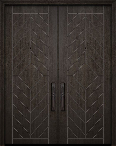 WDMA 64x96 Door (5ft4in by 8ft) Exterior Mahogany 96in Double Lynnwood Solid Contemporary Door 1