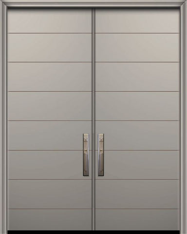 WDMA 64x96 Door (5ft4in by 8ft) Exterior Smooth 96in Double Westwood Solid Contemporary Door 1