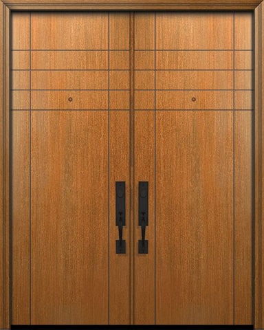 WDMA 64x96 Door (5ft4in by 8ft) Exterior Mahogany 96in Double Fleetwood Solid Contemporary Door 1