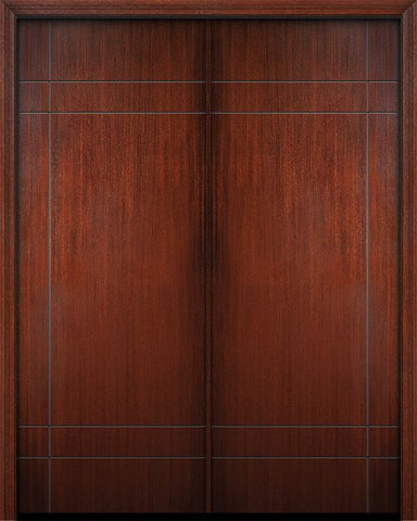 WDMA 64x96 Door (5ft4in by 8ft) Exterior Mahogany 96in Double Inglewood Solid Contemporary Door 1