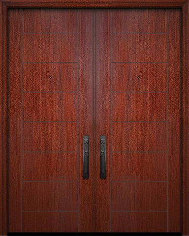 WDMA 64x96 Door (5ft4in by 8ft) Exterior Mahogany 96in Double Brentwood Solid Contemporary Door 1