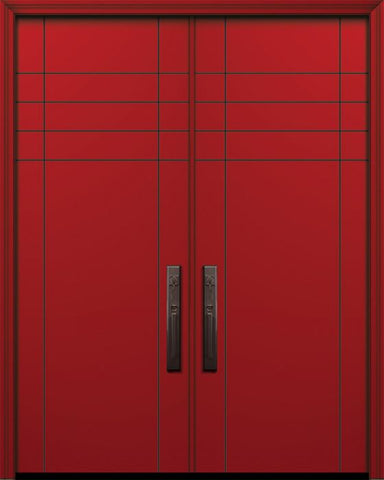 WDMA 64x96 Door (5ft4in by 8ft) Exterior Smooth IMPACT | 96in Double Fleetwood Solid Contemporary Door 1