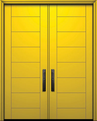WDMA 64x96 Door (5ft4in by 8ft) Exterior Smooth IMPACT | 96in Double Brentwood Solid Contemporary Door 1