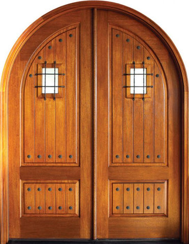 WDMA 64x96 Door (5ft4in by 8ft) Exterior Swing Mahogany Pinehurst Solid Panel Double Door/Round Top w Speakeasy 1