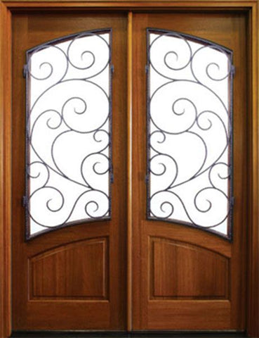 WDMA 64x96 Door (5ft4in by 8ft) Exterior Swing Mahogany 96in Aberdeen Double Door w Burlwood Iron 1